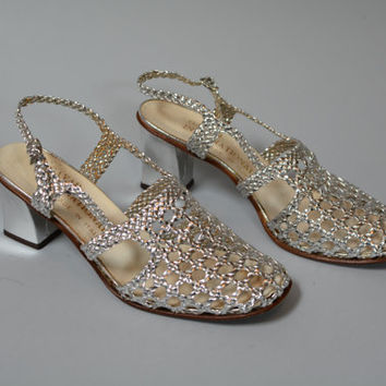 Vintage 70s Silver Leather Woven Heels - Made in Italy Leather Sole Woven Sandals Size 8