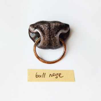 Brooch Bull Nose, animal jewelry, funny jewelry for bull lovers, animal nose brooch, grey and copper, bull jewelry