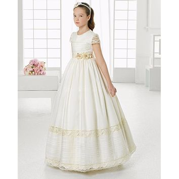 2017 First Communion Dresses For Girls Vintage Ivory Lace Satin Flower Girls Dresses A Line Kids Birthday Party Pageant Dress