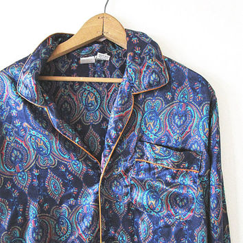 Vintage 90's Navy Silky PAISLEY Pajama Sleep Button Down Top Sz XL