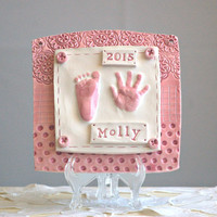 Newborn Personalized Ceramic Plaque with your Baby's Handprint & Footprint - Gift idea for Mom and Dad - Baby Keepsake