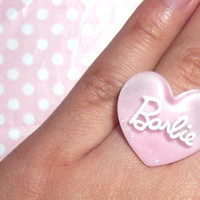 Retro Barbie pink glitter adjustable ring