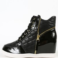 Liliana Sue-44 Zipper Quilted Wedge Sneakers | MakeMeChic.com