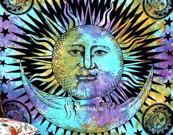 Psychedelic Celestial Indian Sun Hippie Hippy Tapestry Wall Hanging Beach  Throw Boho Bohemian Tye Die Wall