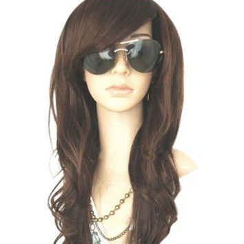 MelodySusie Dark Brown Curly Wig Glamorous Women Long Curly Wig with Free Wig Cap and Wig Comb