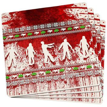 PEAPGQ9 Ugly Christmas Sweater Bloody Zombie Attack Survivor Set of 4 Square Sandstone Coasters