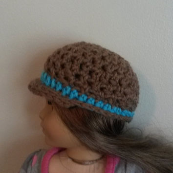 "Brown and Teal Billed cap for American Girl/ 18"" doll (blue, tan, hat, stripe)"