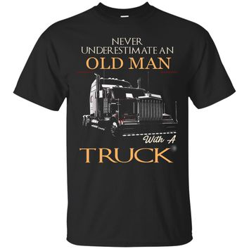 Mens Never Underestimate An Old Man With A Truck Tshirt_Black