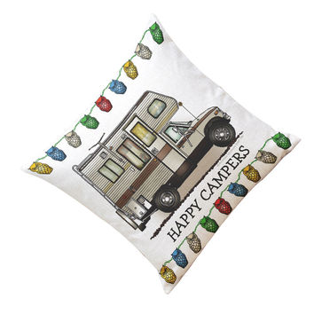 happy campers Pillow Case Sofa Waist Throw Cushion Cover Home Decor Sep26