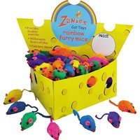 Zanies Cheese Wedge Display Box with 60 Rainbow Mice Cat Toy