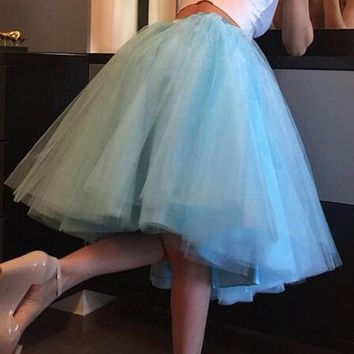 New Sky Blue Grenadine Pleated High Waisted Tulle Tutu Homecoming Party Elegant Midi Skirt