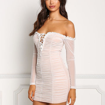 White Mesh Ruched Off Shoulder Bodycon Dress