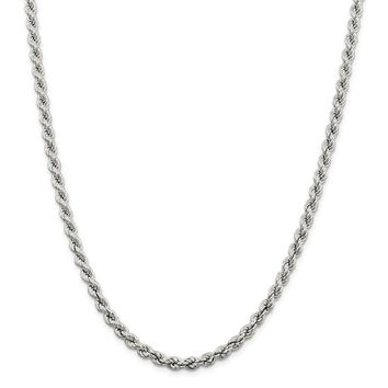 925 Sterling Silver 5.3mm Hollow Rope Chain Necklace, Bracelet or Anklet