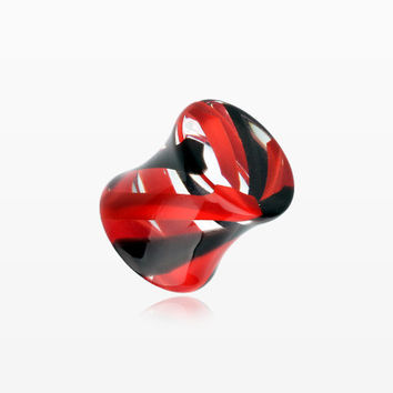 A Pair of Marble Stripe Acrylic Double Flared Ear Gauge Plug