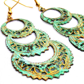 Verdigris Chandelier Earrings, Metal Earrings, Green Earrings, Antique Style, Lace Look, Metal Jewelry, Pastel Jewelry