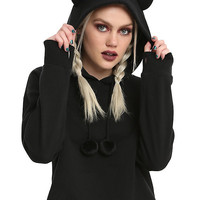 Black Cat Ear Girls Cropped Hoodie