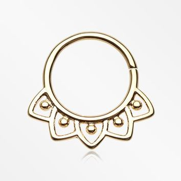 Golden Indian Lilac Septum Twist Loop Ring