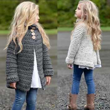Child Kids Baby Girl Knitted Sweater Long Sleeve Cardigan Coat Jacket Outwear US