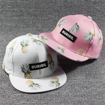 2017 Korean Women Hip Hop Baseball Cap Fruit pineapple Summer Men's Sun Hat Teen Lady's snapback Caps suit for teens adults