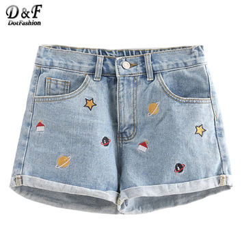 Dotfashion Summer Shorts Mini Denim Shorts Classic Shorts Vintage Beach Wear Blue Embroidered Cuffed Denim Shorts
