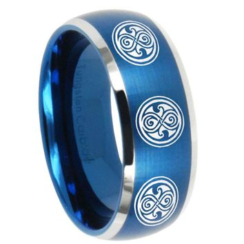 8MM Brush Blue Dome Multiple Doctor Who Tungsten Carbide 2 Tone Laser Engraved Ring