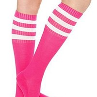 Hot Pink Knee-High Crew Socks - 170664
