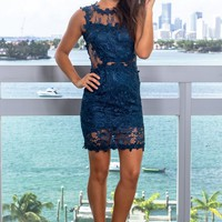 Teal Sleeveless Lace Short Dress