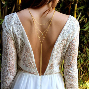Sexy Gold Silver Color Back Necklaces for Women Summer Dress