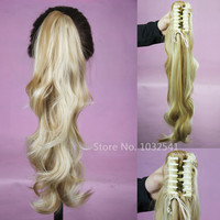 Synthetic Long Lady Wowen Curly Wavy Claw Clip Ponytail Pony Tail Hair Extension body wave Blonde Free Shipping