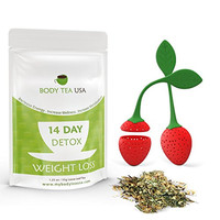 Detox Tea By Body Tea USA Best Skinny Teatox Weight Loss Tea - A Slimming Tea To Cleanse Your Body And Lose Weight - 14 Day Detox Appetite Suppressant Includes Complimentary Tea Infuser