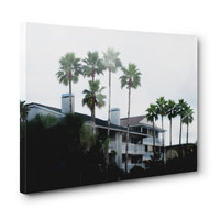 Beach Casitas 2 - Canvas Wrap Gallery Wall Art Hanging Home Decor, White & Green Tropical Palm Trees Accent. In 8x10 11x14 16x20 20x24 24x36
