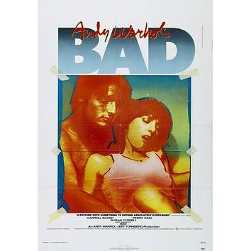 Bad Andy Warhol Movie poster Metal Sign Wall Art 8in x 12in