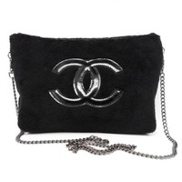 New fashion logo print plush chain shoulder bag crossbody bag Black