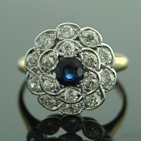 Antique Ring - Diamond and Sapphire 14K Yellow Gold