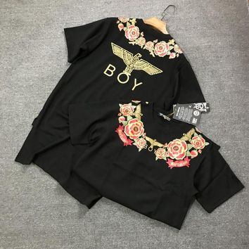 """Boy London"" Women Casual Fashion Rose Flower Eagle Print Short Sleeve Middle Long Section T-shirt Irregular Dress"