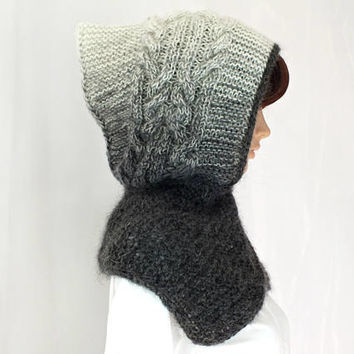 OOAK Hand Cable Knit Hooded Boho Style Hooded Hat Scarf Ombre Angora Wool Gray Multicolor GreyYarn Hat Hood Chunky Cowl Winter