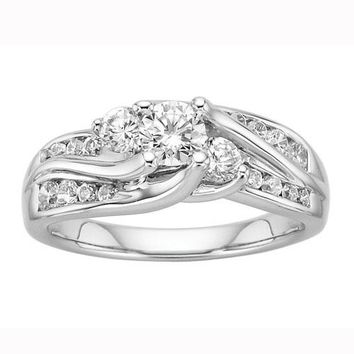 JewelMore 1ct Three stone Round Diamond Enegagment Ring (G-H/I1-I2) 14K White Gold