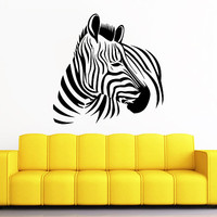 Wall Decals Zebra Animals Jungle Safari African Childrens Decor Kids Vinyl Sticker Wall Decal Nursery Bedroom Murals Playroom Art SV6122