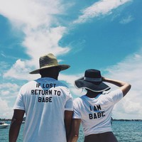 If Lost Return To Babe ..I Am Babe Couples T-shirt Set