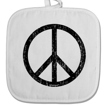 Peace Sign Symbol - Distressed White Fabric Pot Holder Hot Pad