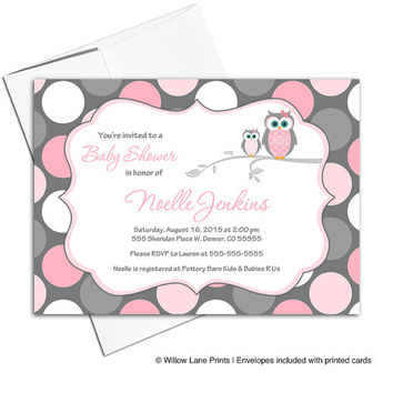 pink and gray baby shower invitation with owls | baby girl shower invite polkadots | printable or printed - WLP00731