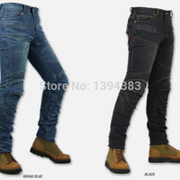 With protections! KOMINE PK-718 Superfit Kevlar Denim Jeans Riding Gear Collection Motorcycle Men Jeans 2 Color- Black or Blue