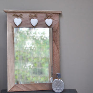 Wooden Mirror With Three Hanging Hearts