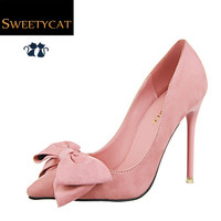 new 2015 wedding pumps 6 colors spring autumn flock women red bottom high heels women shoes fashion bowtie sapatos femininos L45