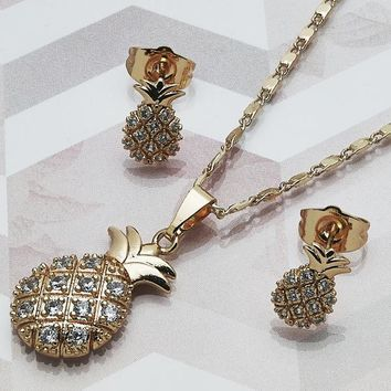 Gold Layered Women Pineapple Necklace and Earring, with White Cubic Zirconia, by Folks Jewelry