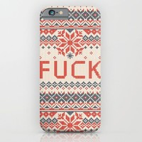 Holiday sweater iPhone & iPod Case by Everything Is Stupid