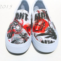 Ant-Man-Mens slip on shoes-Black-Red-White-Marvel Comic book-Superhero-gift for him-geek wedding-custom personalized shoes