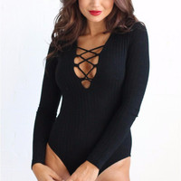 Lace-up Ribbed Black Bodysuit