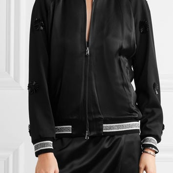 3.1 Phillip Lim - Appliquéd wool and silk-satin bomber jacket