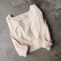heart cut out sweater in beige by reverse